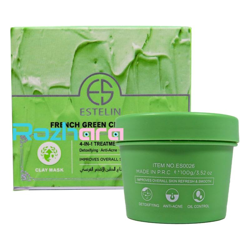 ماسک صورت ضد جوش و آکنه Estelin مدل خاک رس سبز فرانسوی 100 گرم