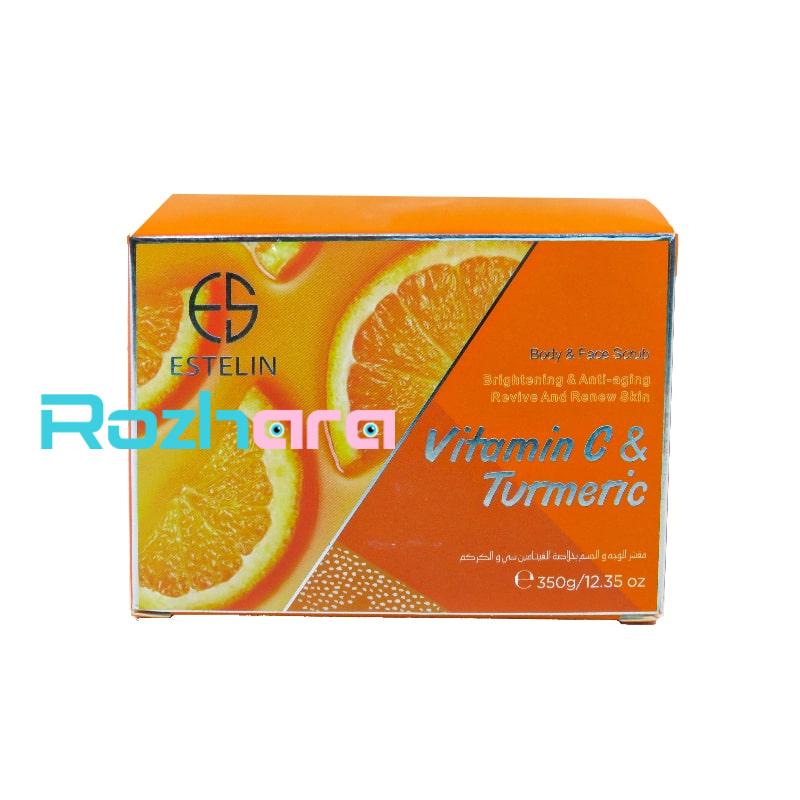 اسکراب صورت و بدن استلین Estelin عصاره پرتقال حجم 350 گرم